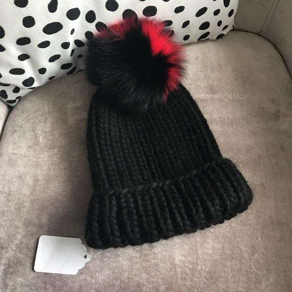 4ca79124fdd Eugenia Kim Rain Pom Pom Black   Red Fur Hat